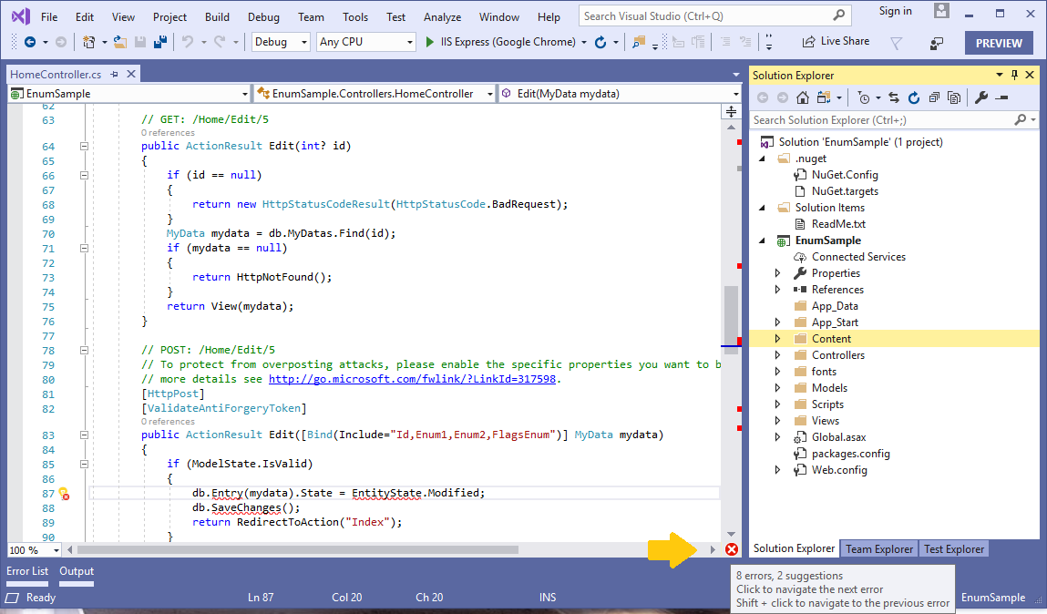 visual studio 2019 document health