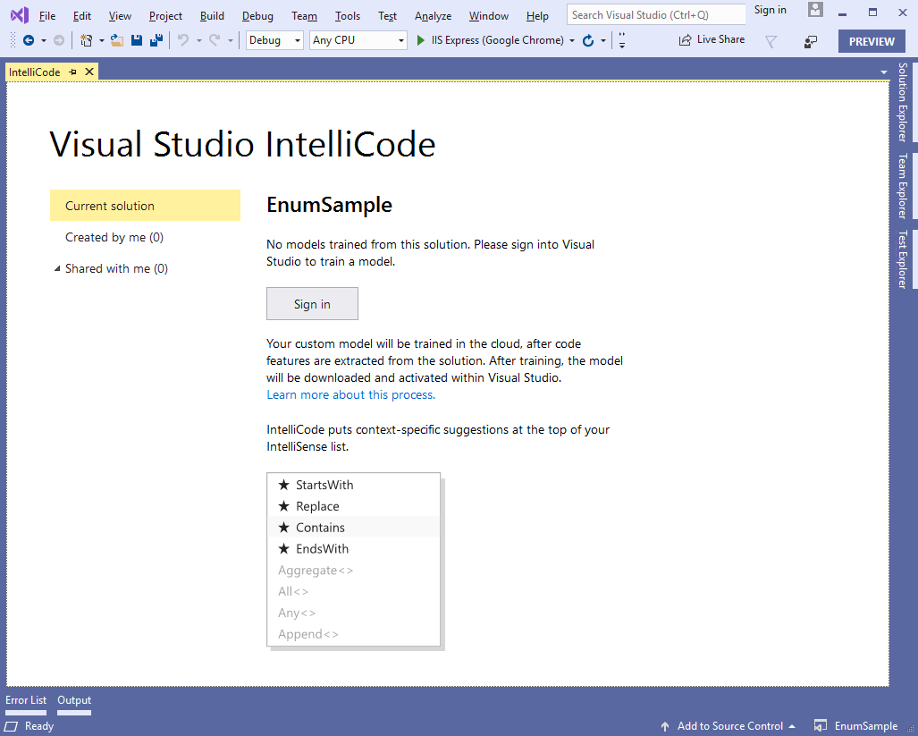 visual studio 2019 intellicode